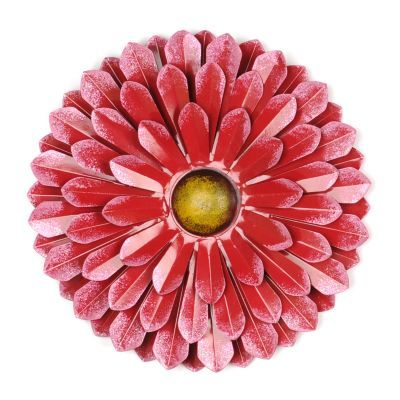 Product Details Red Metal Flower Wall Plaque Apartment