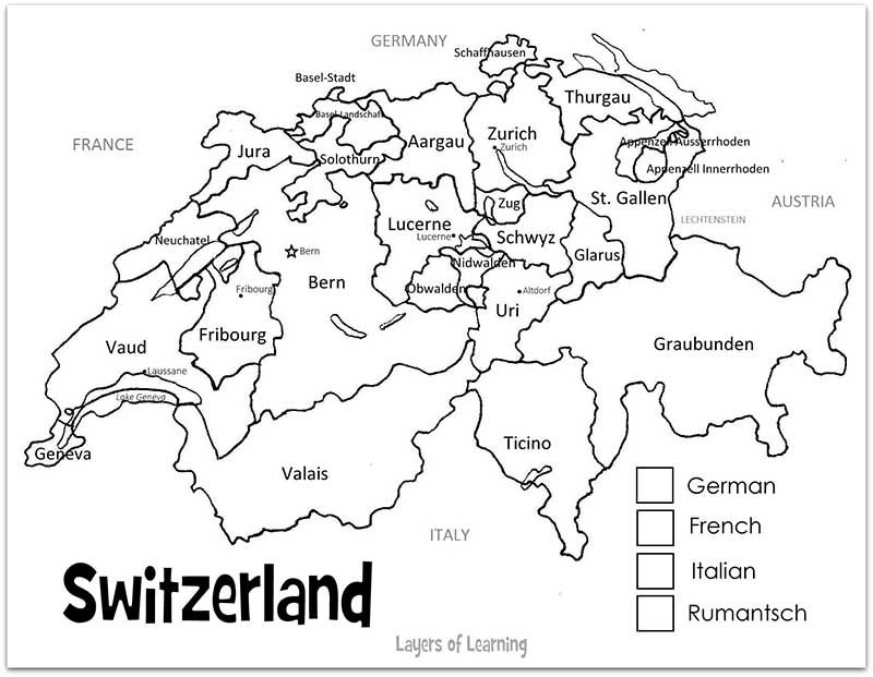 Switzerland Printable Map And Country Study Map Of Switzerland
