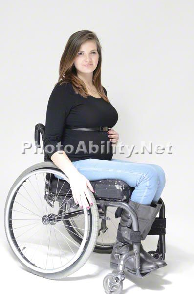 70bfbbbe81d12 Pregnant Mom in wheelchair portrait on white   Fashion/people in ...