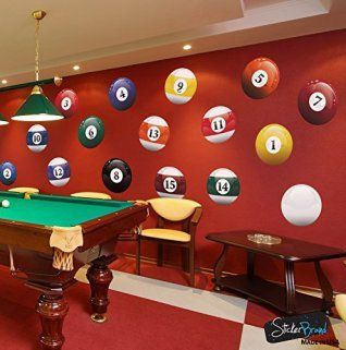 16 Realistic Color Billiard Wall Decal Sticker Room Sign Decor 15in X Size 6089 Easy To Ly Removable