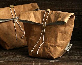 Photo of Lunch-Tasche, wiederverwendbare Papiertüte, waschbare Papiertüte, Lebensmittelaufbewahrung, Picknick-Tasche, Kraft-Tex, Vegan, minimalistisch, Eco, Null Abfall