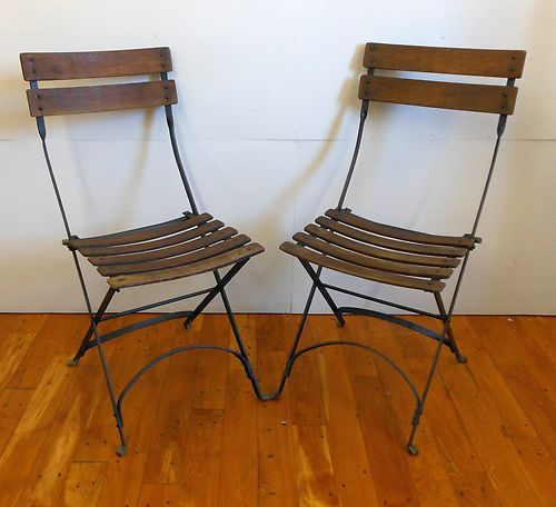 Pair Of Vintage Wood And Metal Folding Chairs Patio Lawn