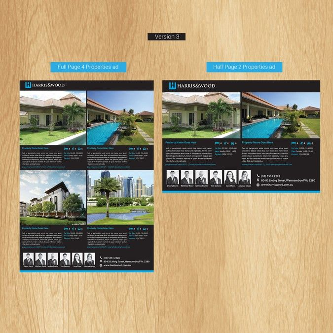 Design a newspaper template for Real Estate advertising by Backend - half sheet template