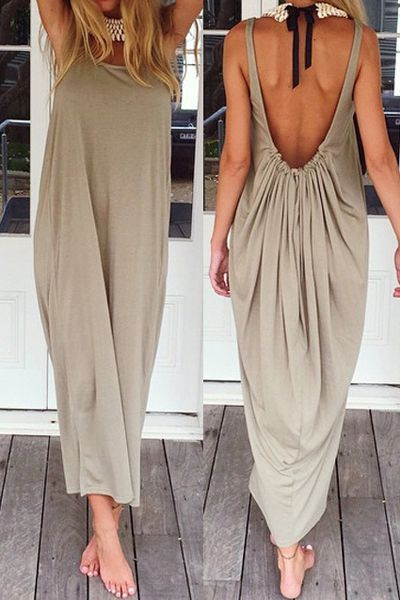 Backless Solid Color Ruffle Sleeveless Maxi Dress Khaki Dresses