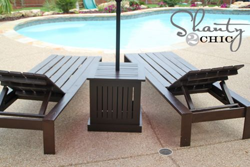 White Pool Deck Chairs: DIY Outdoor Umbrella Stand And Loungers