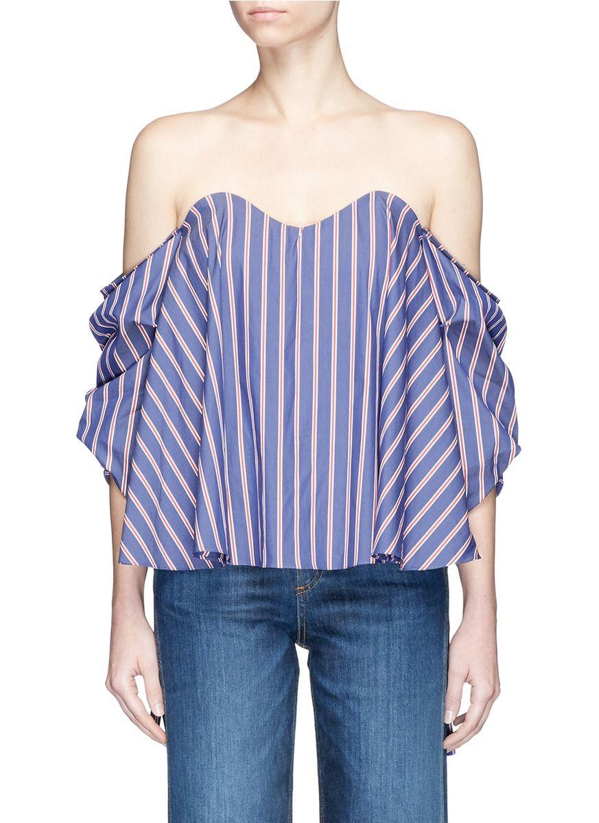 6cb4fe9501e7f CAROLINE CONSTAS  Gabriella  Stripe Poplin Off-Shoulder Bustier Top.   carolineconstas  cloth  top