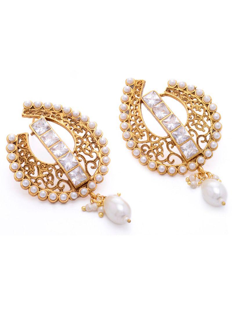 Fascinating gold n white earrings jeweled jamboree pinterest