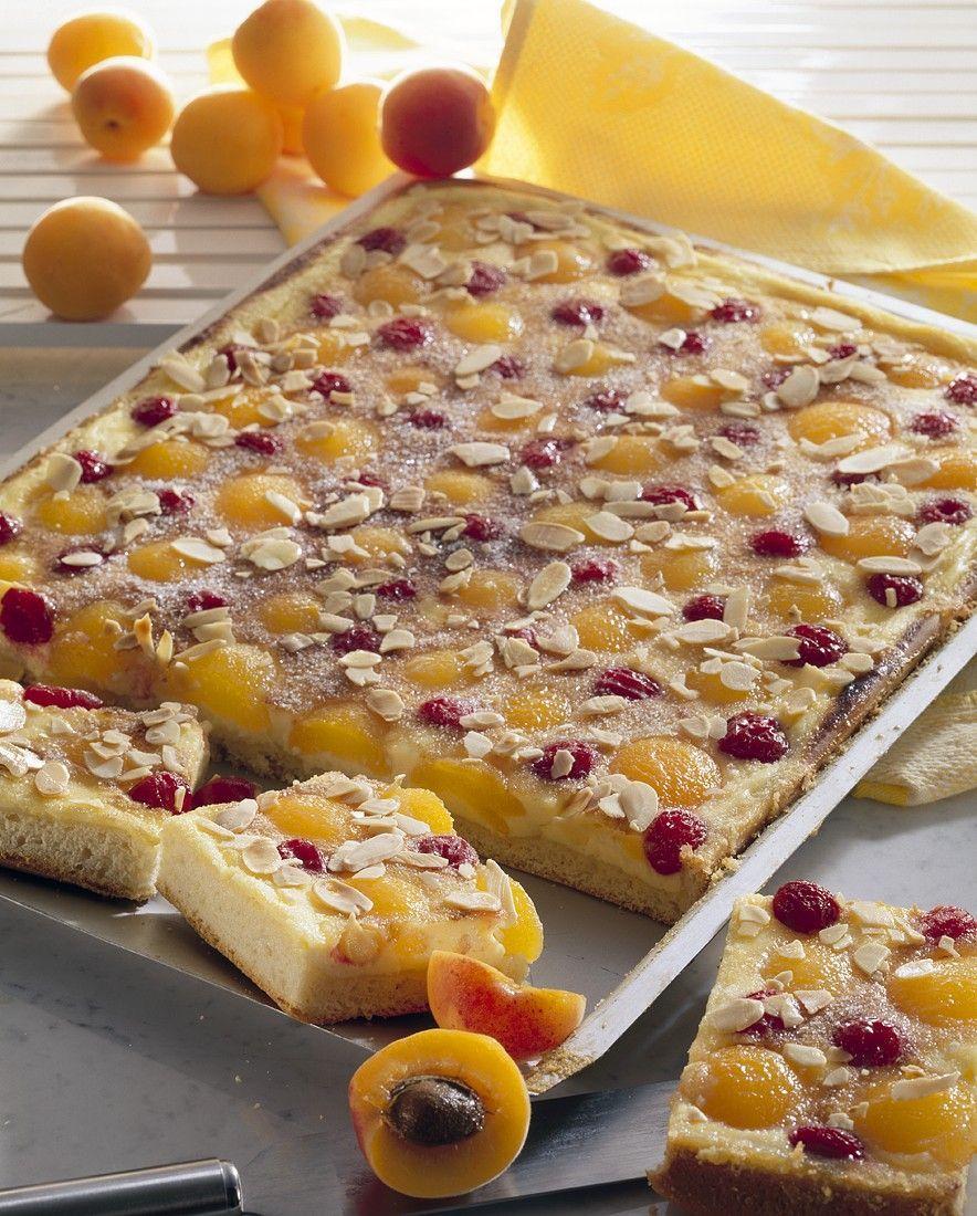 Hefekuchen mit Aprikosen und Kirschen belegt