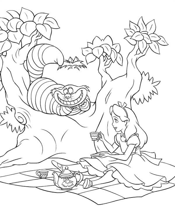 Cheshire Cat Colouring Pages With Images Cat Coloring Page