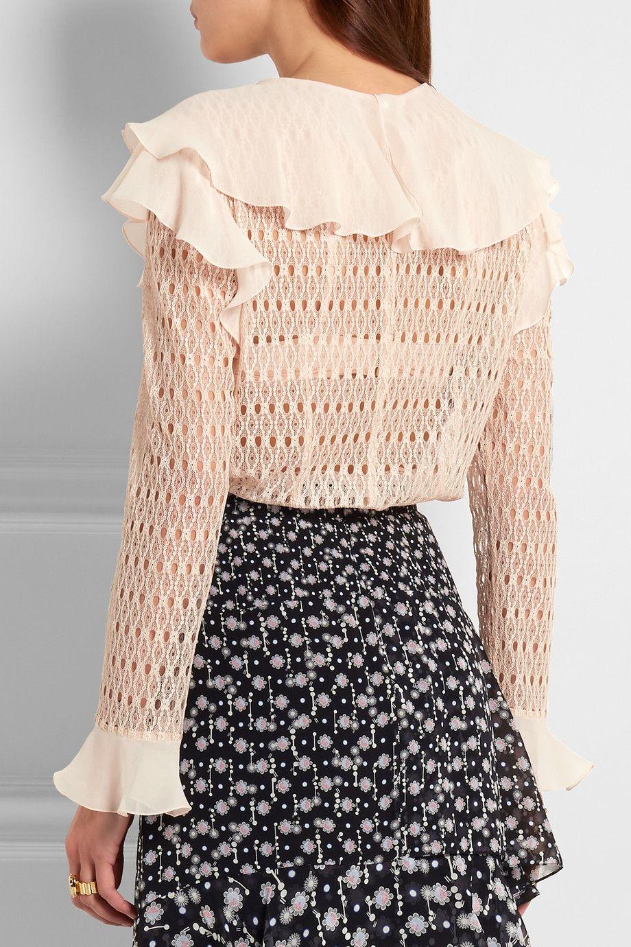 Philosophy di Lorenzo Serafini | Ruffled silk chiffon-trimmed lace blouse |  NET-A