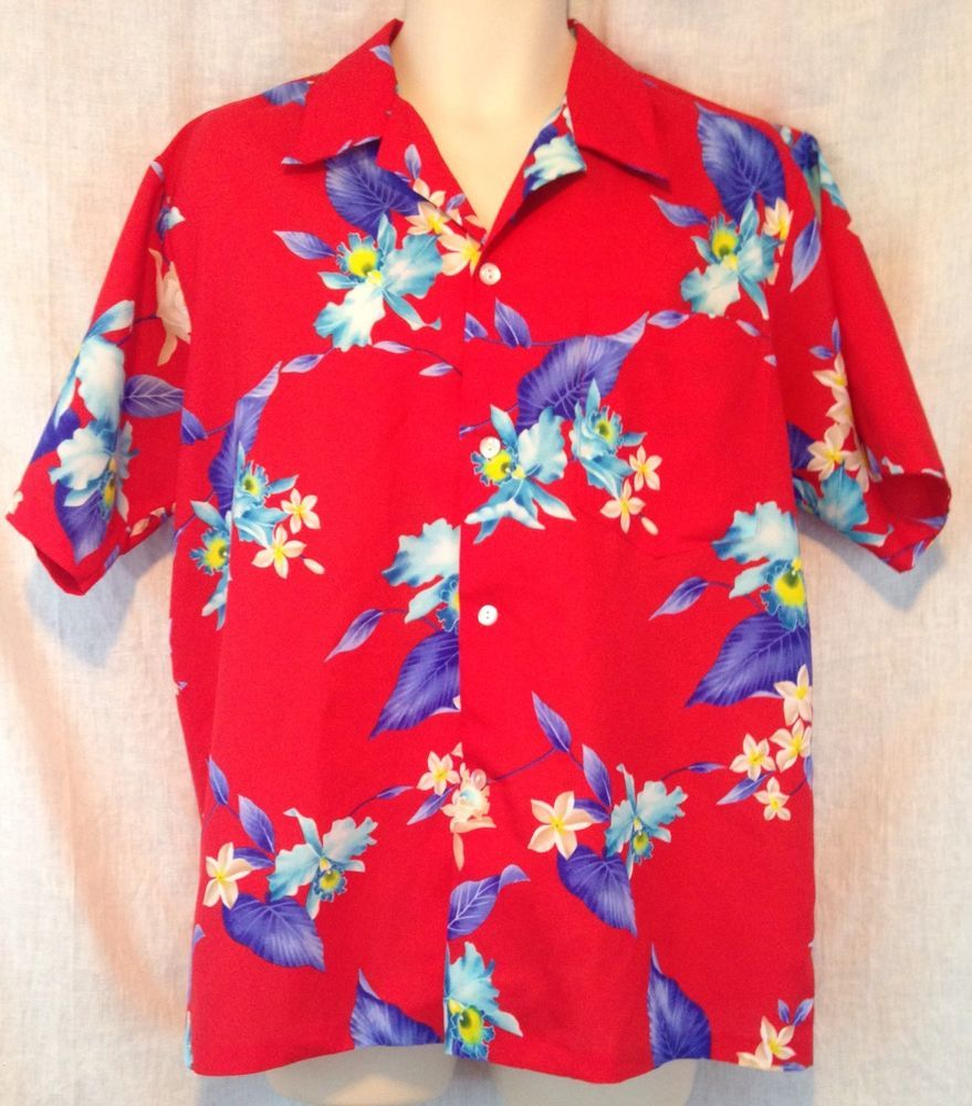 dac28c41c9 Vintage Hookano Made In Hawaii Men's Large Red Hibiscus Floral ...