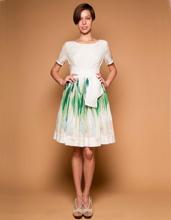 Frauen Midi Kleid, einfache Hochzeit Kleid, weiß, 50er ...