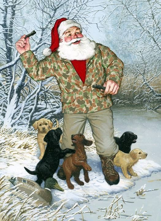 Santa In Camo Throwing Stick To Lab Puppies On Pond I
