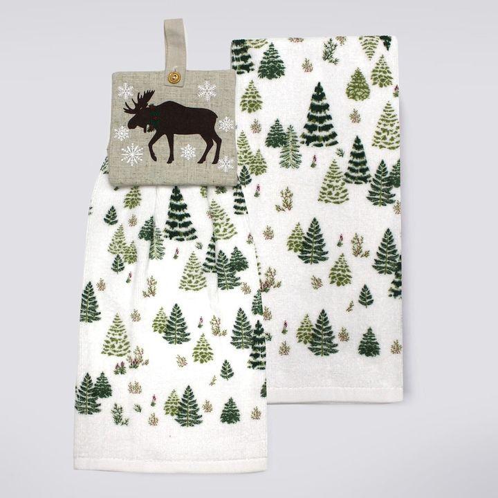 St Nicholas Square Moose Tie Top Kitchen Towel 2 Pk Kitchen