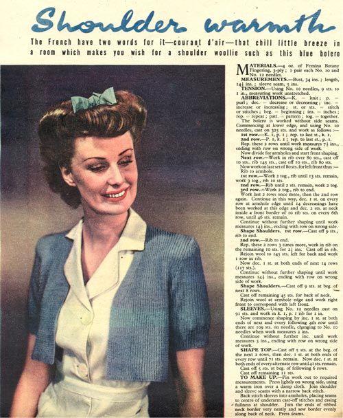 Vintage Chic 1944 Boleroshrug Knitting Pattern Free Pattern