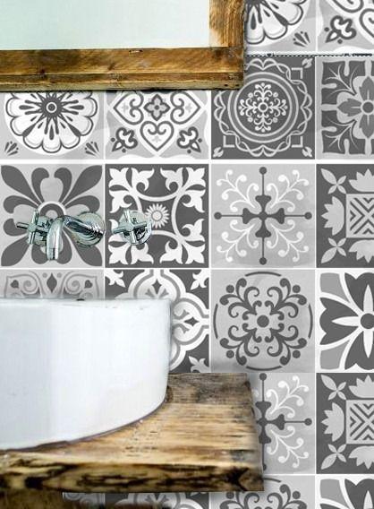 Vinilos decorativo azulejos grises vintage patchwork ba o for Azulejos decorativos