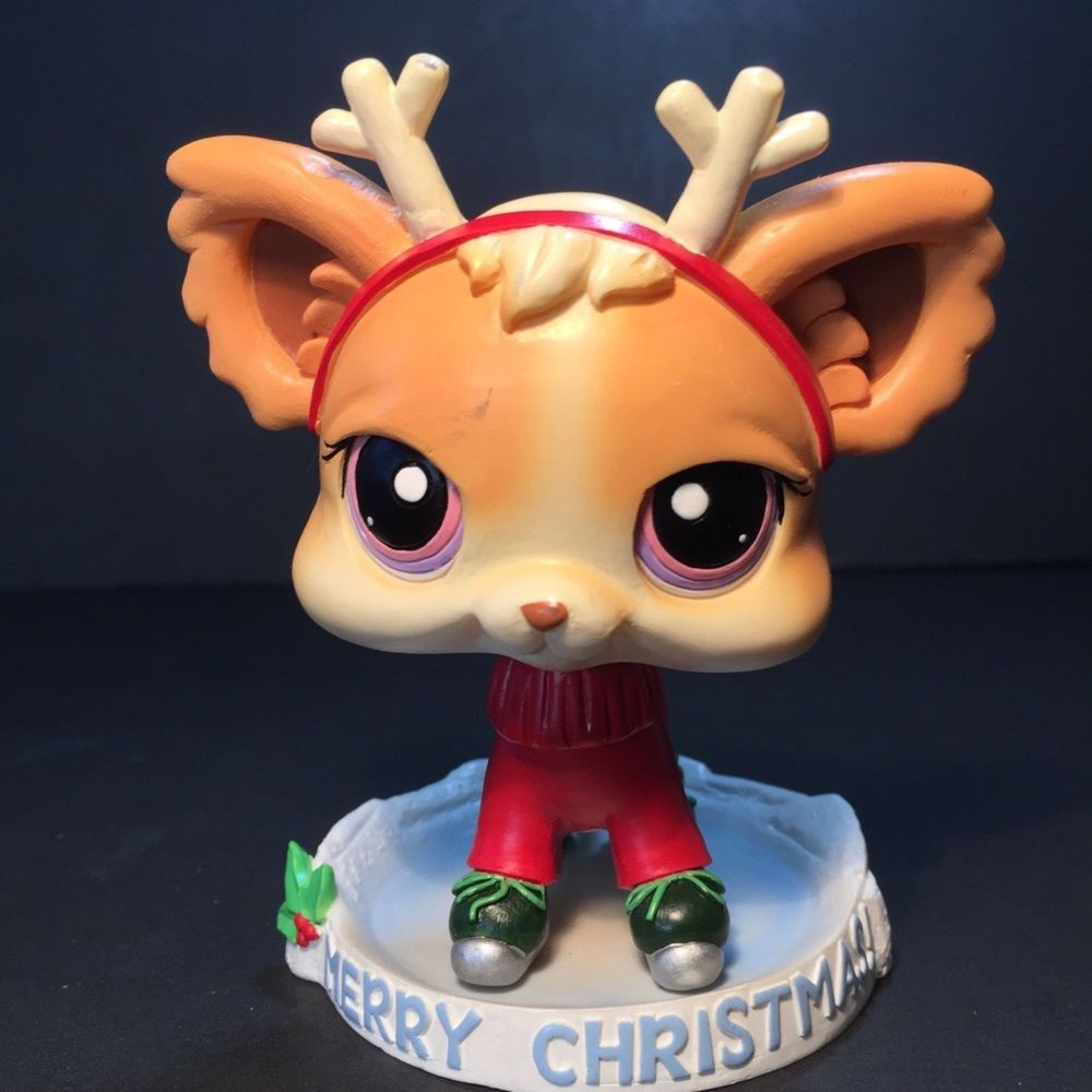 Littlest Pet Shop Lps Bobble Head Xmas Dog Reindeer Tabletop Decor