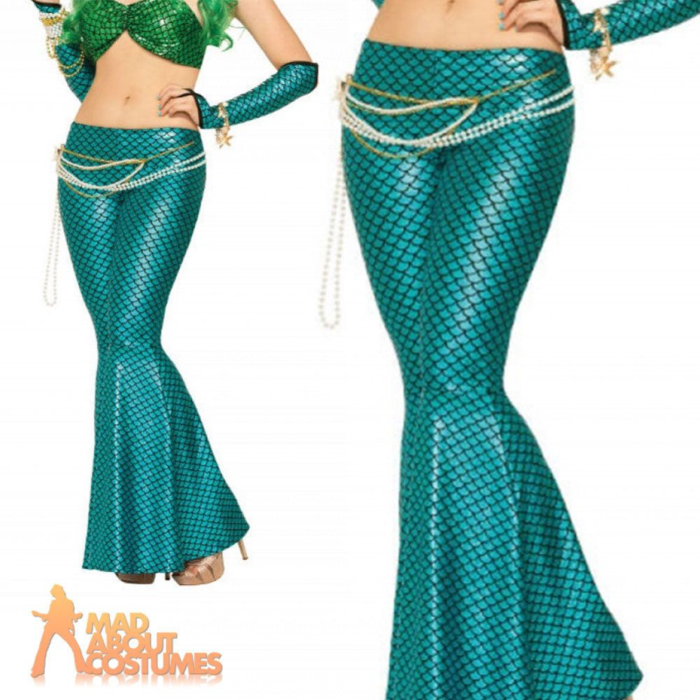 Ladies Mermaid Costume Adult Sea Siren Flared Trousers Fancy Dress Woman Outfit