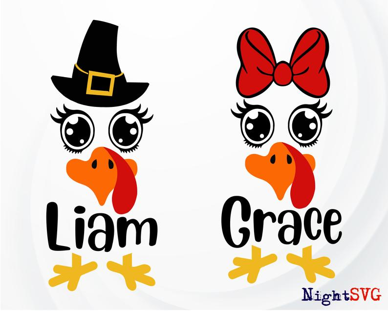 Funny Turkey SVG, Turkey Face svg, Baby Turkey Monogram