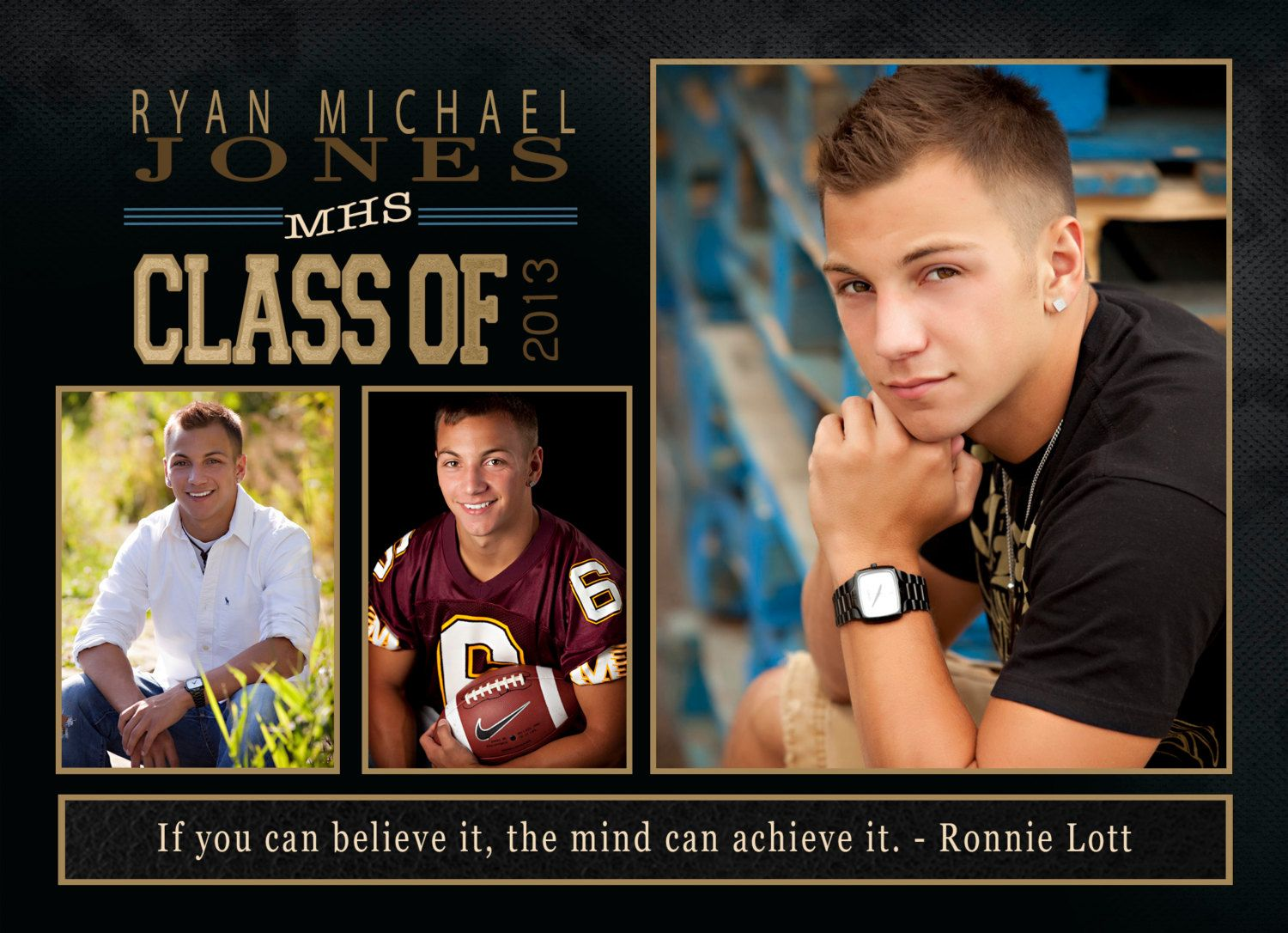 Sports Themed Graduation Party Invitation with Wise Quote Graduation ...