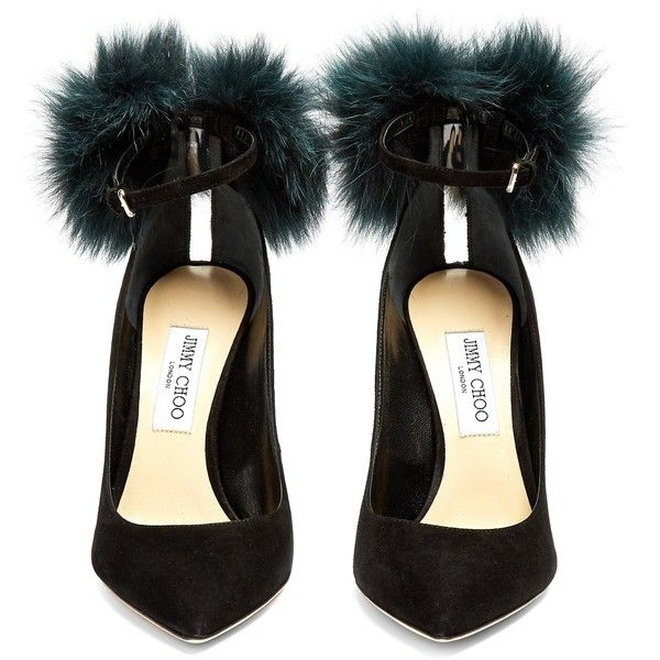 9d9090a471f Jimmy Choo South 100mm fox-fur embellished suede pumps (13.133.995 IDR) ❤  liked on Polyvore featuring shoes