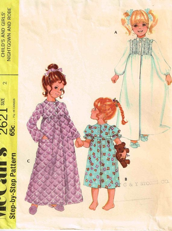 Toddler Girls Nightgown and Robe Children Sewing Pattern McCalls 2621 Vintage 1970s  by PeoplePackages