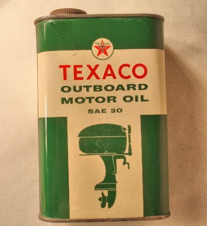 Vintage Texaco Out Board Motor Oil Can Quart Full Factory