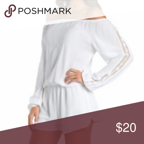 1d41ef5cbe29 Elan romper White off the shoulder romper with crochet panel on the  sleeves. NEW WITH TAGS