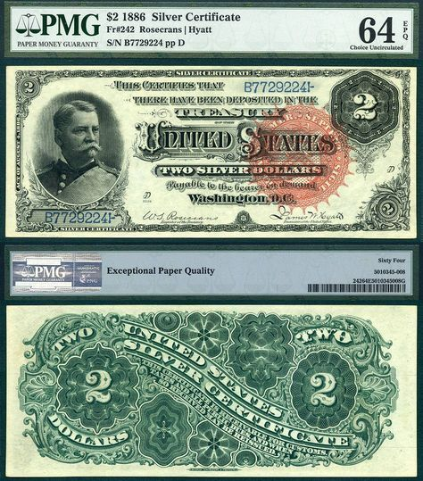 1886 $2 Silver Certificate The Hancock Note FR-242 PMG Graded CU64EPQ Paper Money Guaranty Rare US Currency 1-8-2014 CAA PAPRRR