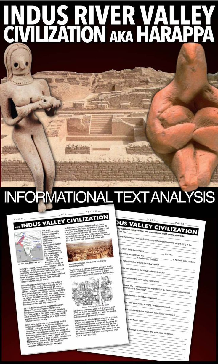 Indus Valley Harappa Civilization Informational Text Worksheet