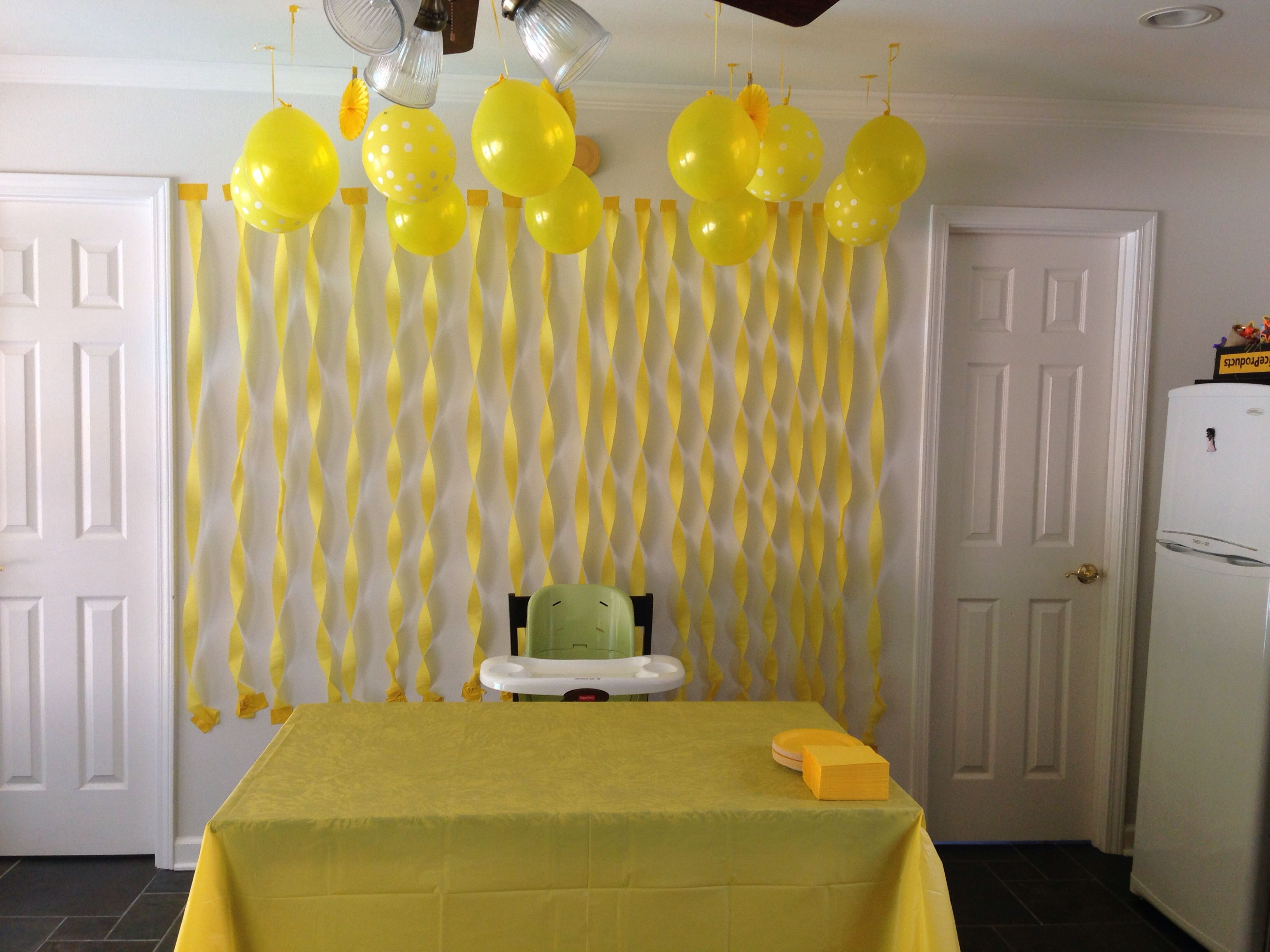 Sunshine party cake table decor -yellow streamers -yellow duck ...
