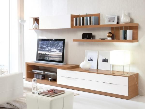 Walnut And White Wall Storage Display With Tv Stand Shelves White Furniture Living Room Living Room Tv Tv Stand Shelves
