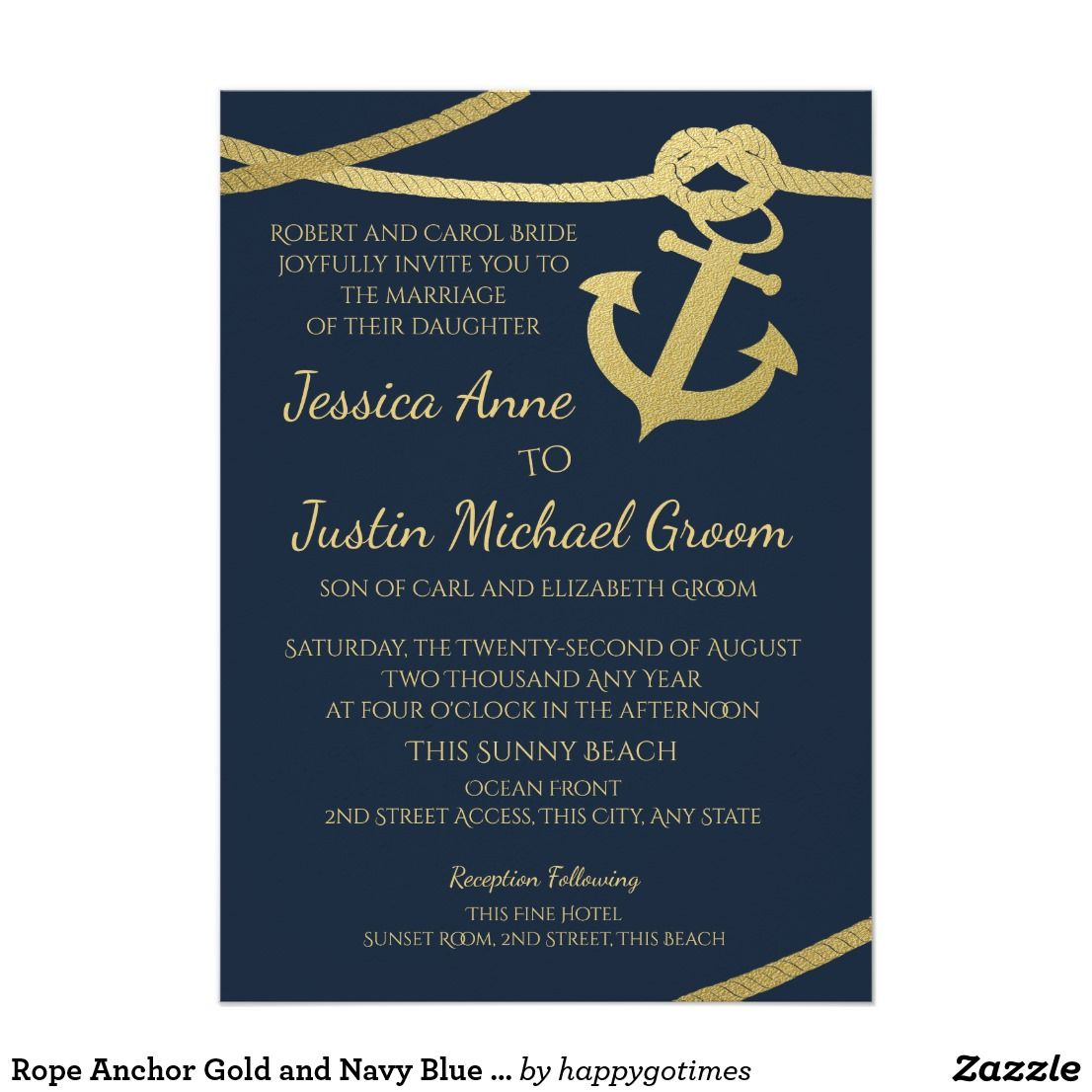 Rope Anchor Gold And Navy Blue Wedding Card Anchor And Nautical Rope