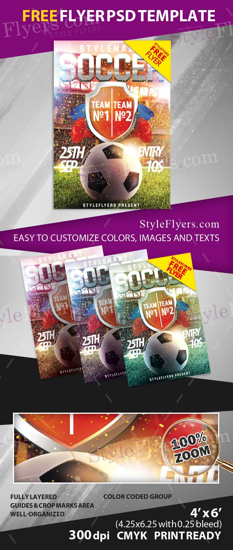 Soccer FREE PSD Flyer Template Free Download 11587 Copa