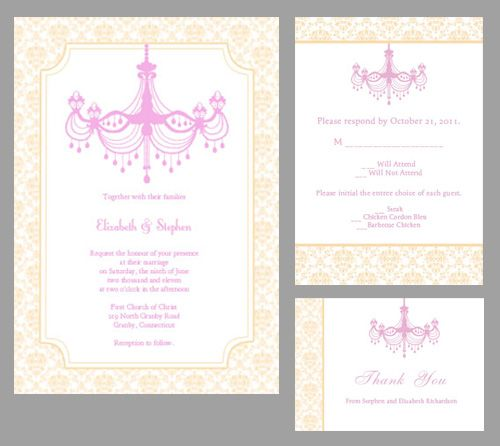 Free Vintage Chandelier And Damask Invitation Template In Pink And