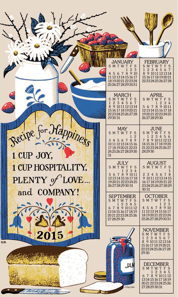 Recipe for Happiness Linen Calendar Towel Mother gifts