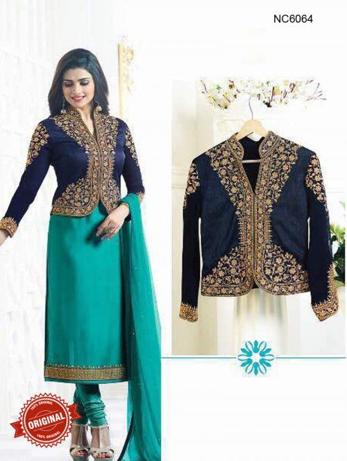 Prachi Desai Green Blue Crepe Silk Jacket Style Straight Suit