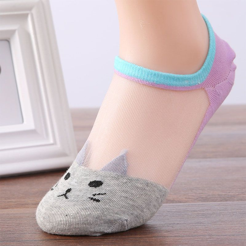 Women Summer Fashion Cat Silk Casual Ankle High Low Cut Invisible Gray