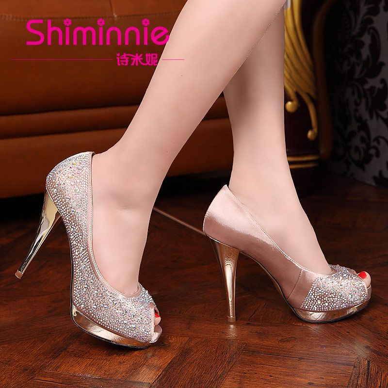 Minnie 2013 Rhinestone Open Toe Shoe Star High Heeled Bridal Shoes Wedding  Shoes Gold Champagne Color