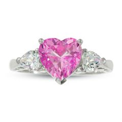Heart Shaped Lab Created Pink And White Sapphire Ring In 10k White Gold White Gold Promise Ring Heart Shaped Diamond Ring White Sapphire Ring