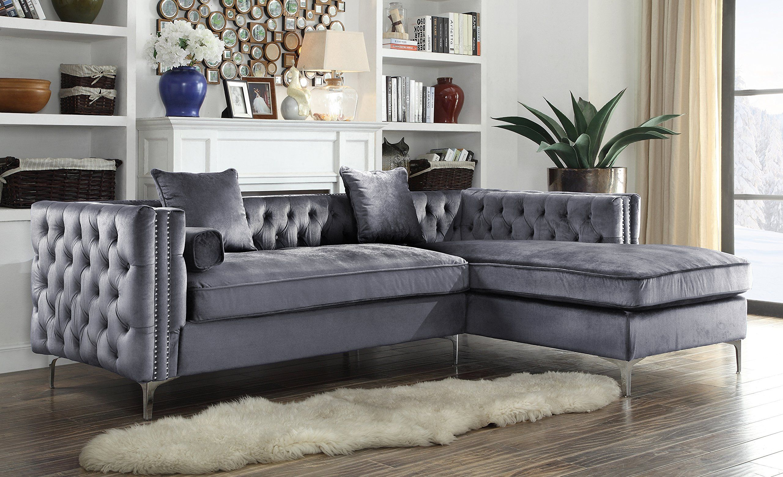 Iconic Home Da Vinci Tufted Silver Trim Grey Velvet Right Facing Sectional Sofa With Silver Tone Metal Y Le Sectional Sofa Grey Sectional Sofa Velvet Sectional