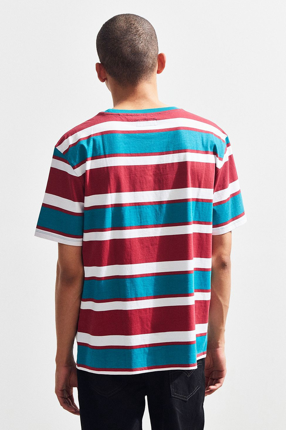 cheapest sale soft and light new appearance Urban Outfitters Guess St. James Stripe Tee - Berry Xl ...