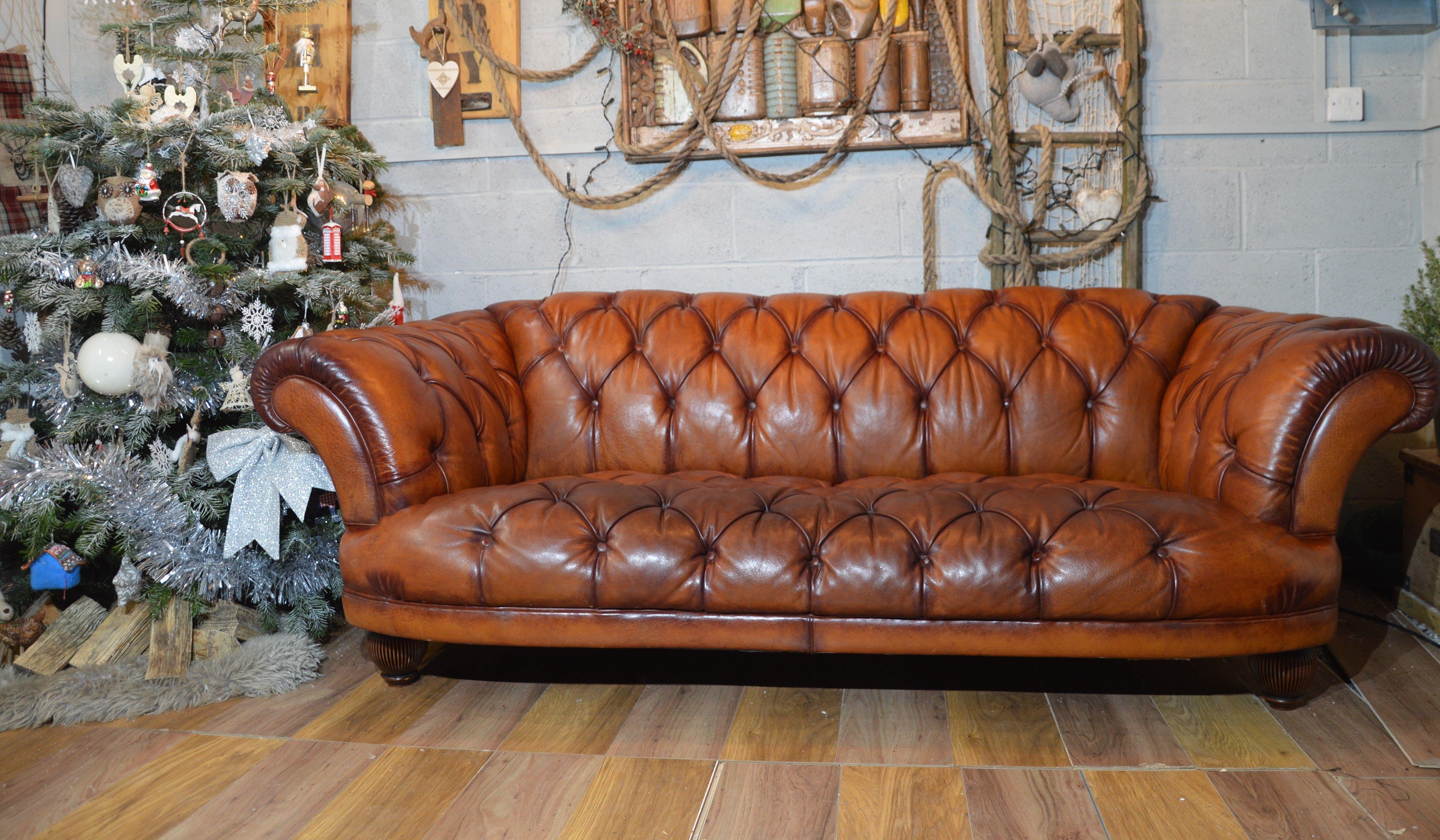 Tetrad Grand Tour Oskar Tan Brown Leather Chesterfield Sofa