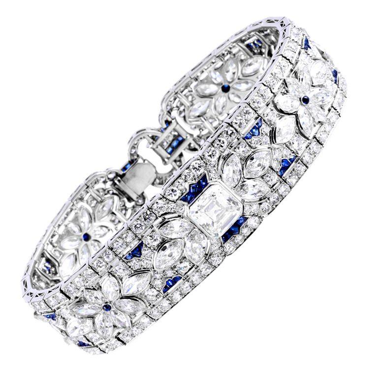 1stdibs | Incredible Diamond and Sapphire Art Deco Platinum Bracelet