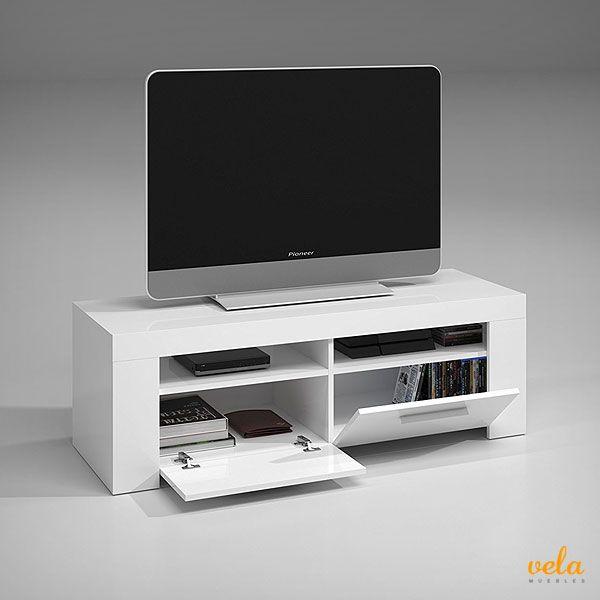 Mueble tv color blanco en madera con armario y puertas abatibles. No ...