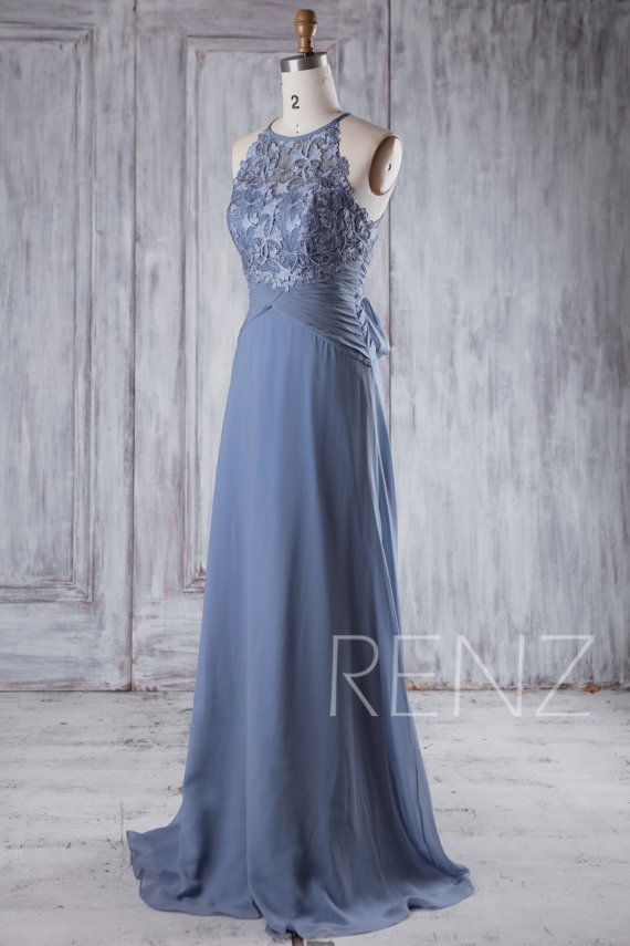 Bridesmaid Dress Steel Blue Chiffon Wedding Dress, Bow Back Prom ...