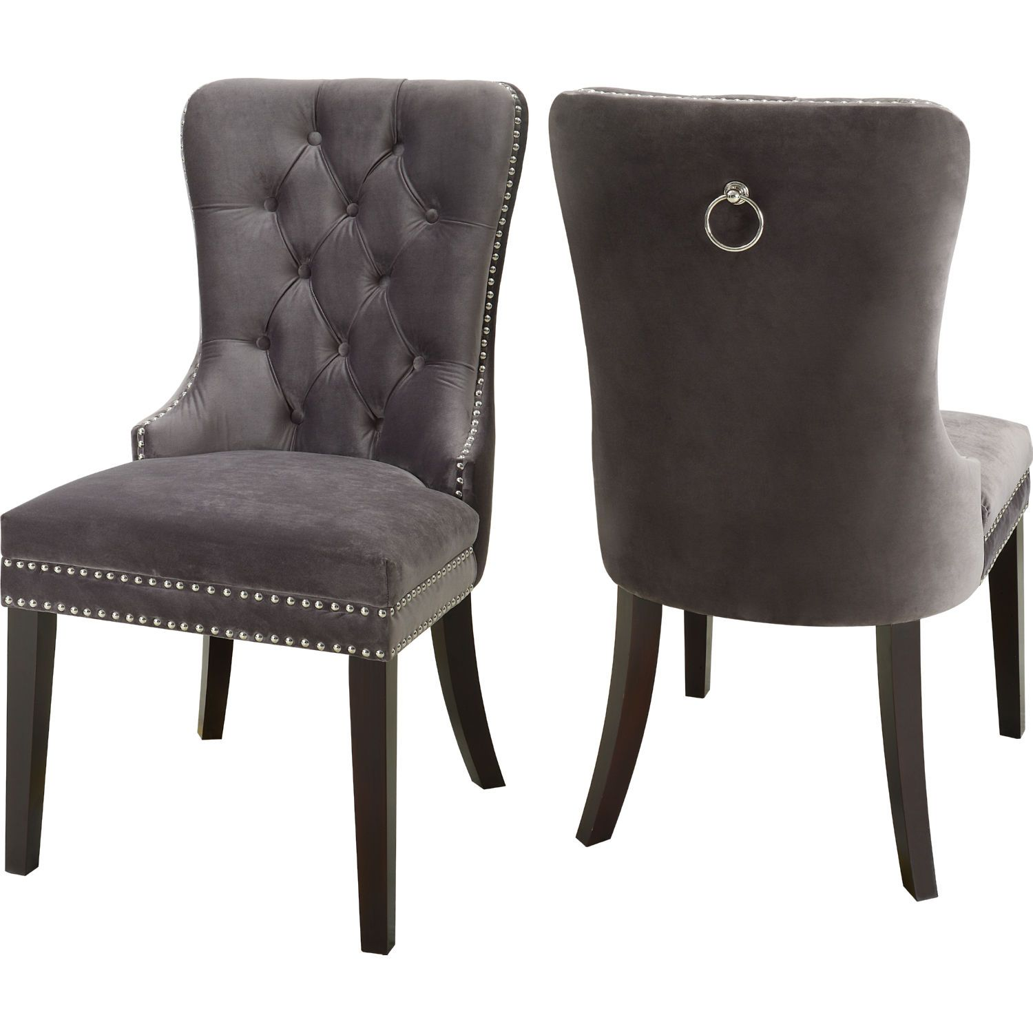 Meridian Furniture 740grey C Nikki Dining Chair Tufted Grey Velvet