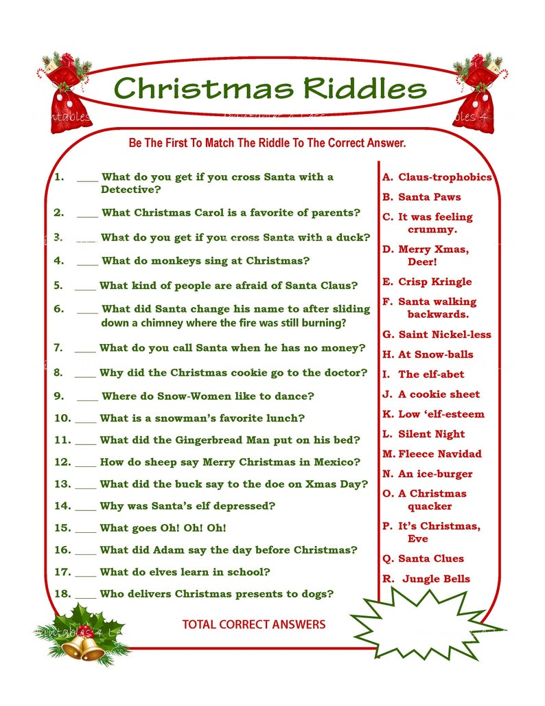 Striking image intended for christmas riddles printable