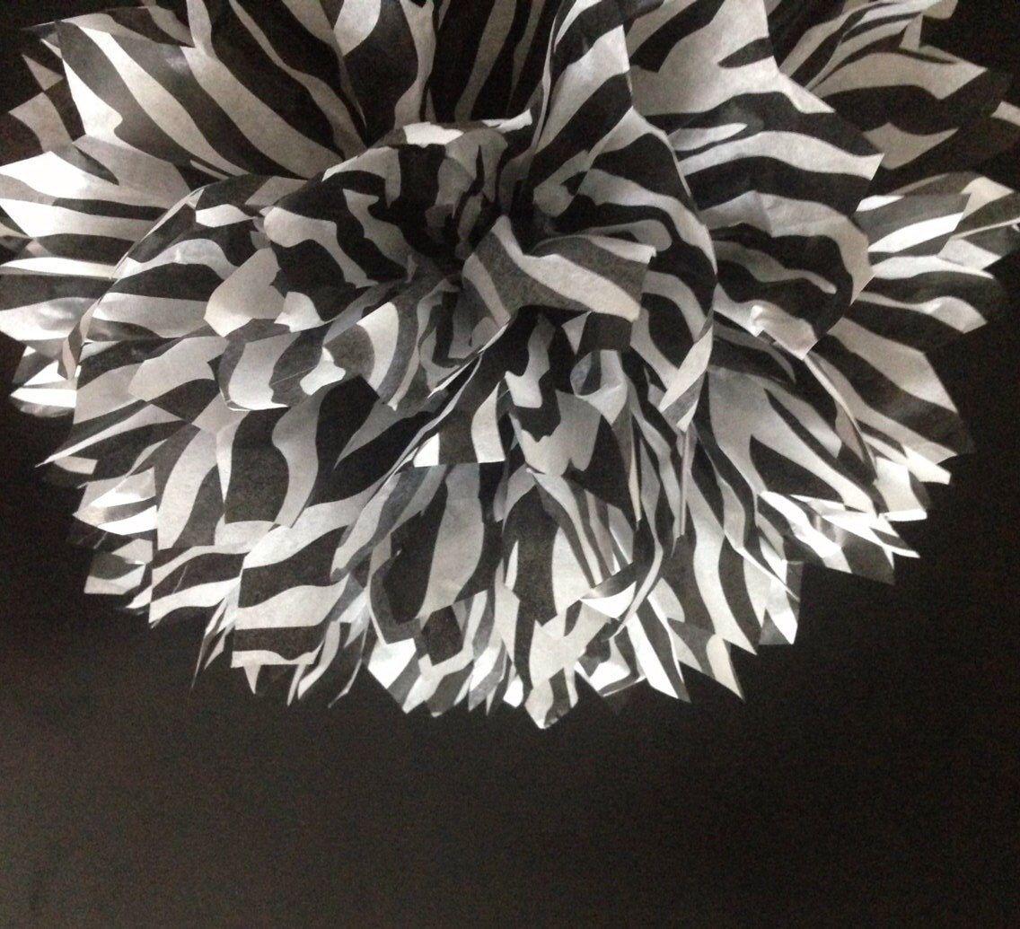 Zebra wedding decorations  BLACK ZEBRA PRINT   tissue paper pom pom  baby shower wedding