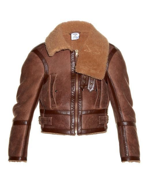 de4faf1445f Men s Brown Shrunken-fit Shearling Aviator Jacket